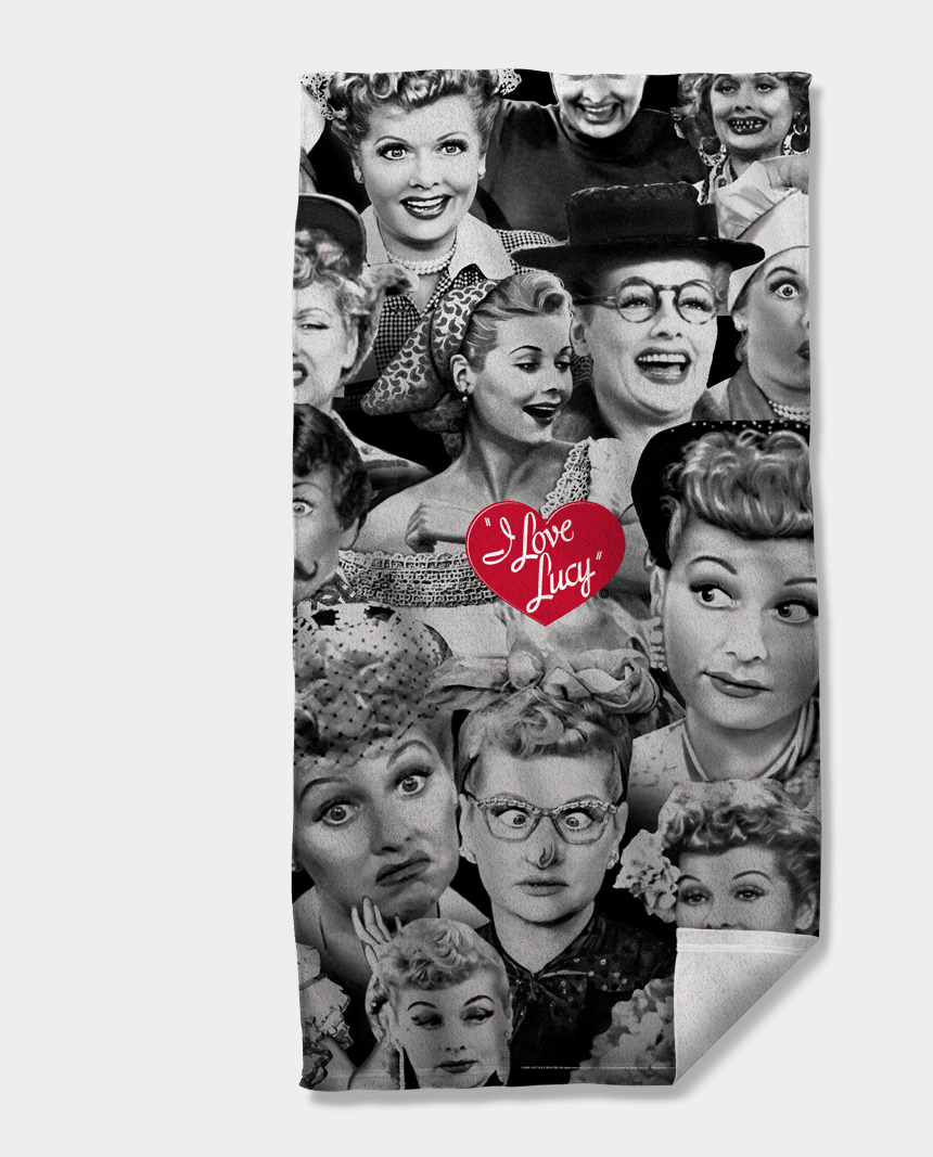i love lucy clipart, Cartoons - I Love Lucy Faces Beach Towel - Love Lucy Blanket