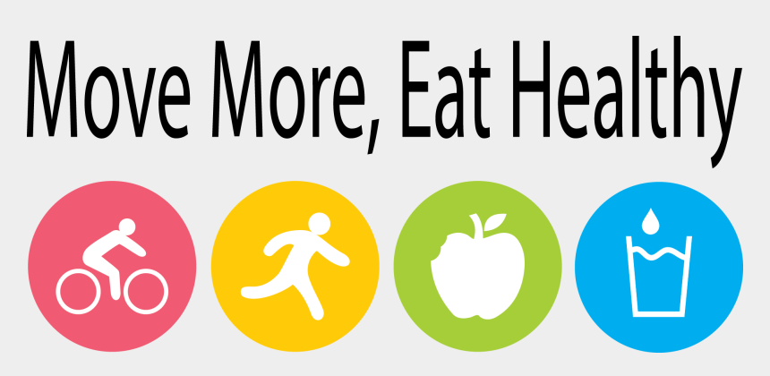pe clipart, Cartoons - Health Physical Education - Move More Eat Healthy Logo