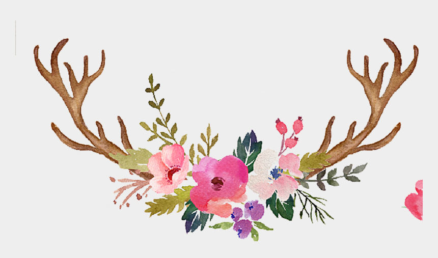 antlers clipart, Cartoons - Antlers Flower Painted Wedding Hand Reindeer Invitation - Watercolor Antlers And Flowers