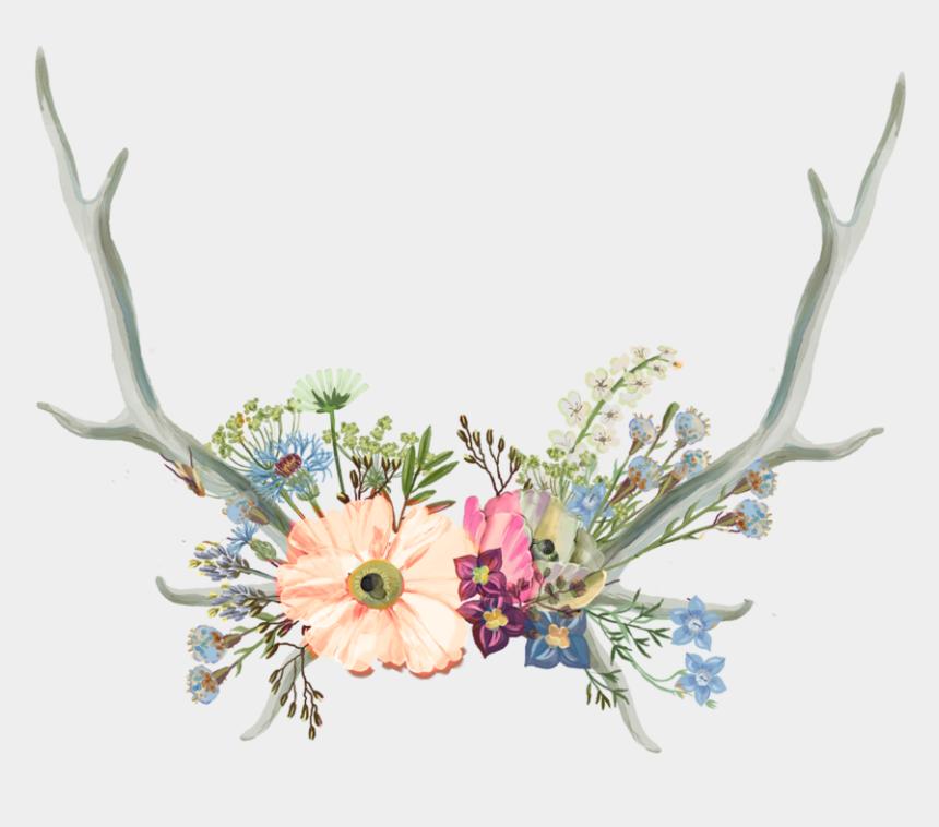 antlers clipart, Cartoons - Drawn Antler Aesthetic - Aesthetic Flower Crown Png