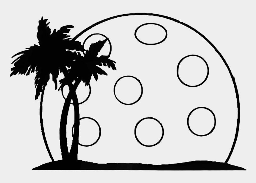 landscape clipart, Cartoons - Pickleball Summer Palm Landscape Moon - Palm Tree And Sunshine Clip Art
