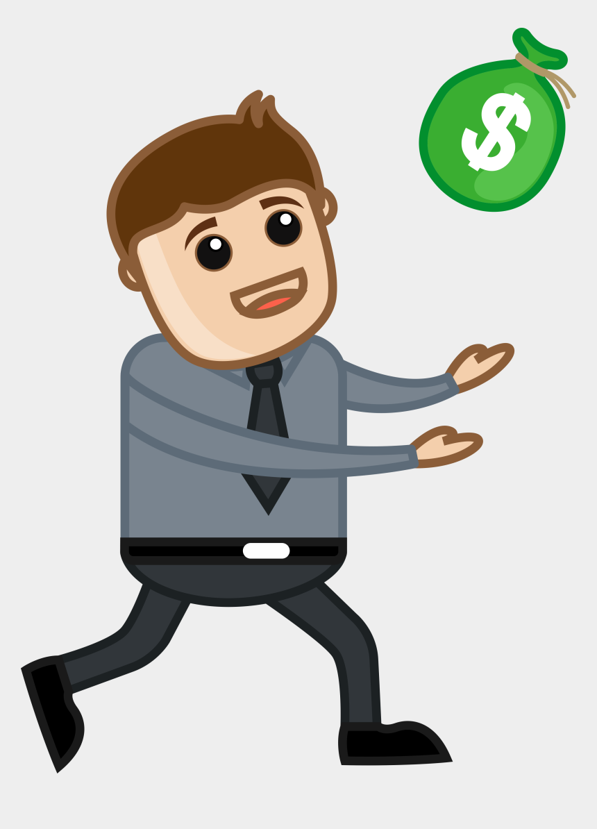 Money Cartoon Clipart Image - Clip Art Illustration Of A Man Running With  Money In His Hand