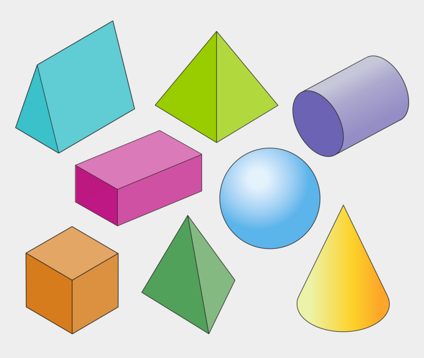 geometric shape clipart, Cartoons - Math - Math 3d Shapes Transparent