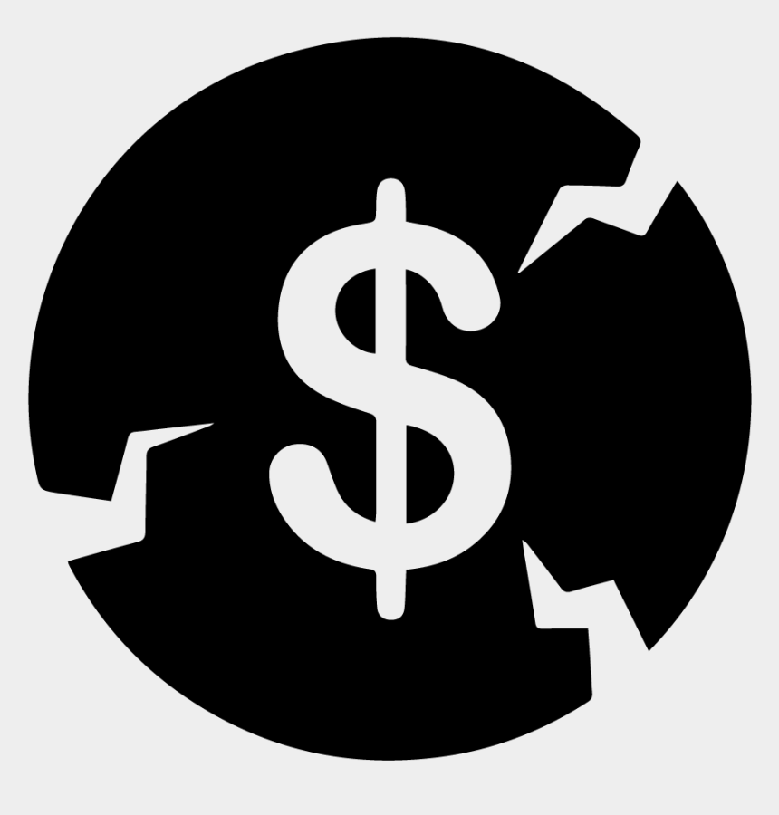 financial manager clipart, Cartoons - Broken Money Icon - Money Logo Black And White
