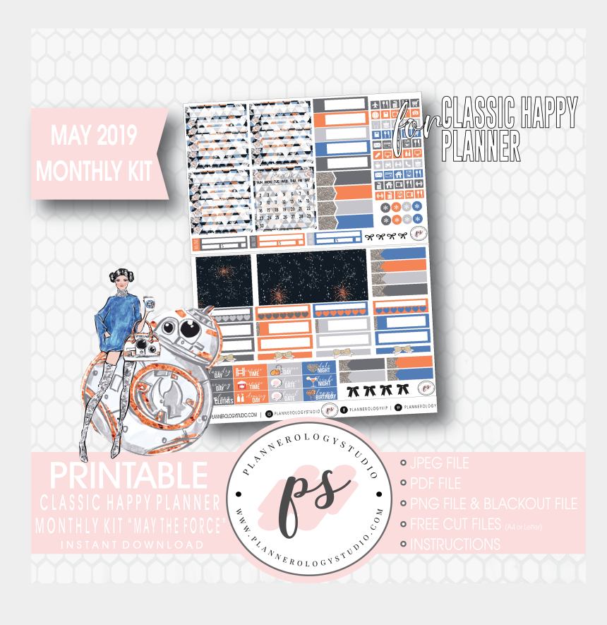 may the force be with you clipart, Cartoons - May The Force May 2019 Monthly View Kit Digital Printable - Hobonichi Weeks Sticker Size