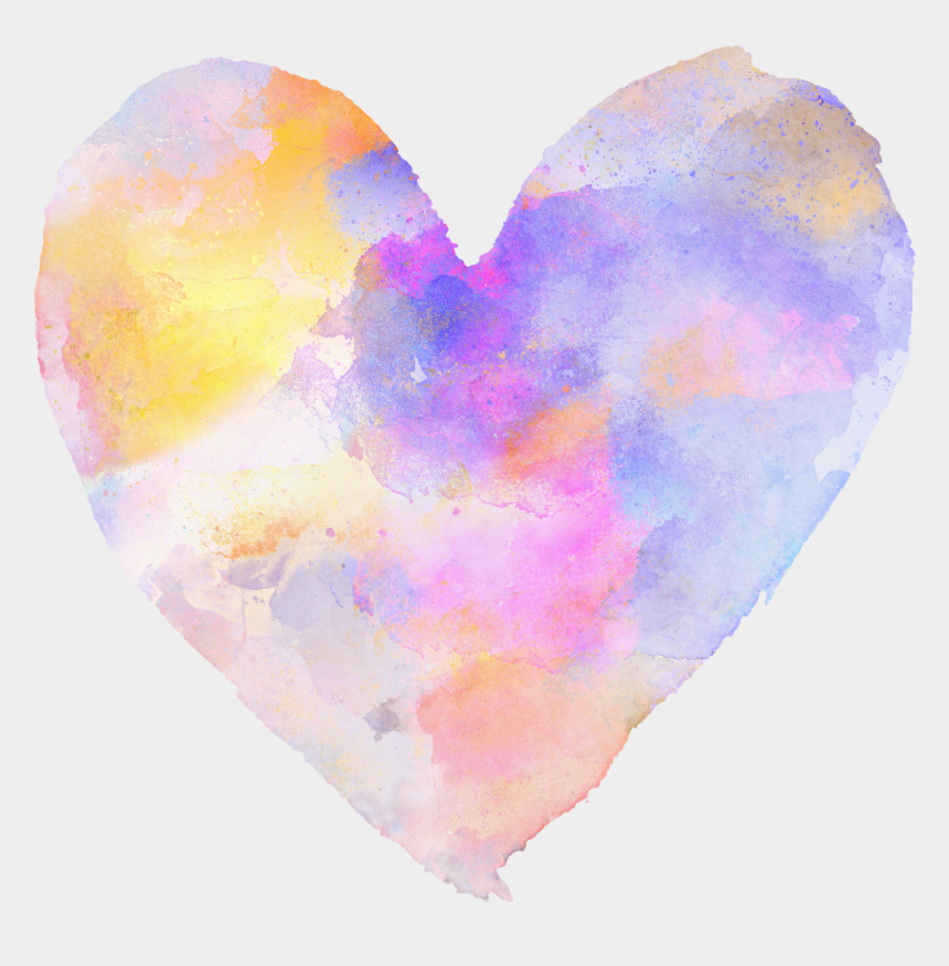 watercolor heart clipart, Cartoons - #freetoedit #ftestickers #heart #love #rainbow #colorful - Heart
