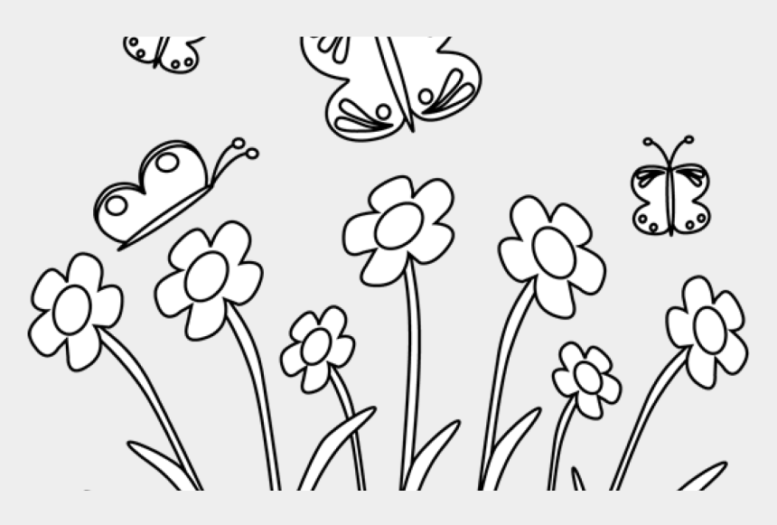 clipart flowers and butterflies black and white, Cartoons - Black And White Spring Flowers And Butterflies Clip - Easter Black And White Clipart