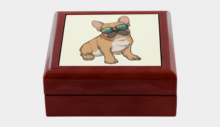 cute french bulldog clipart, Cartoons - French Bulldog Sunglasses Funny Jewelry Box, Gifts - Jewellery