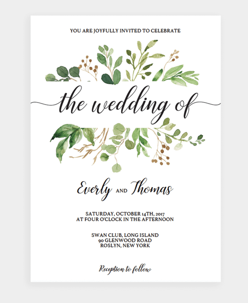 rustic wedding invitation clipart, Cartoons - Invite Your Wedding Guests In Style With This Green - Greenery Baby Shower Invitations