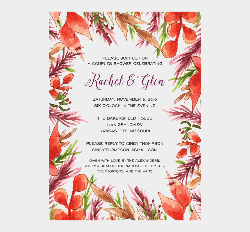 rustic wedding invitation clipart, Cartoons - Autumn Border Leaves Wedding Party Invites, Engagement - Floral Design