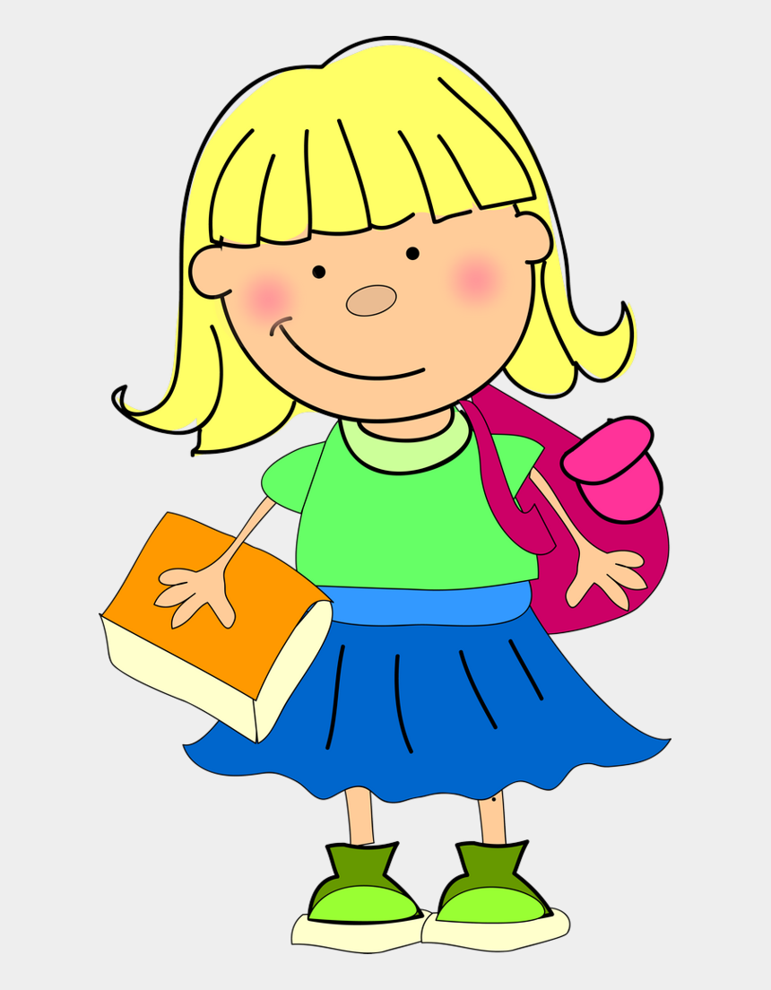 going to school clipart, Cartoons - Clipart Pic Of A Girl Going To School - Girls Clipart At School