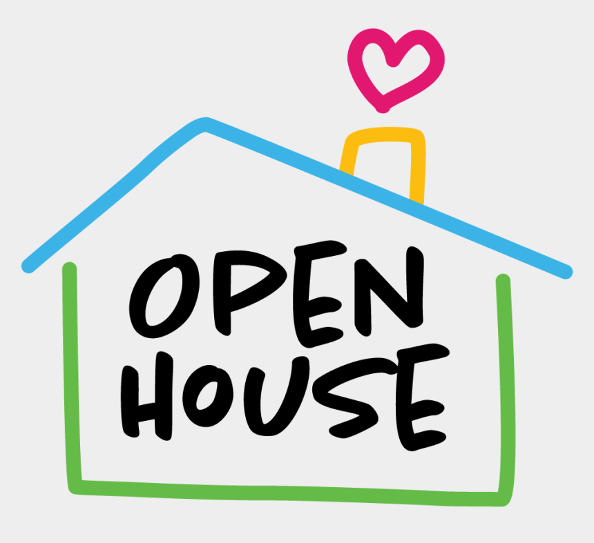house with heart clipart, Cartoons - Open House - Open House Clipart