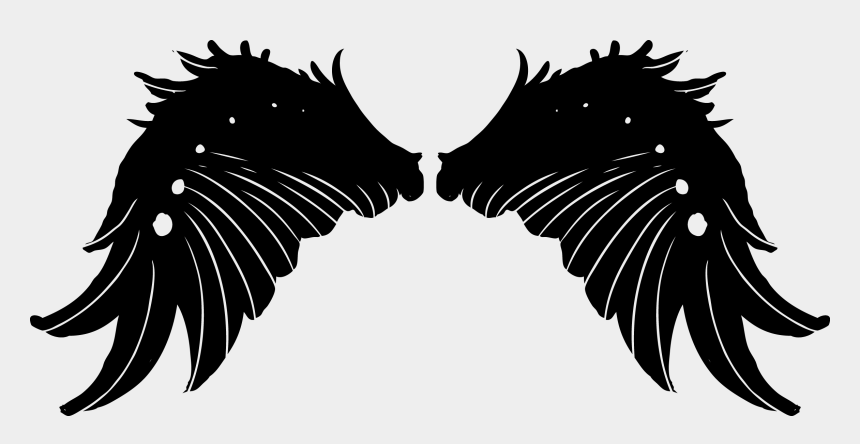 free clipart wings, Cartoons - Wings Tattoos Clipart Ice Cream - Black Angel Wings
