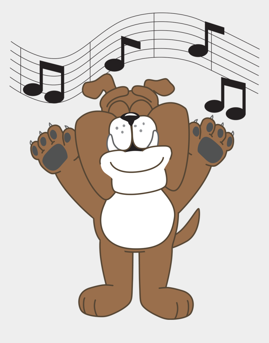 choir singing clipart, Cartoons - Bulldog Singing - Cartoon Dog With Paws Up