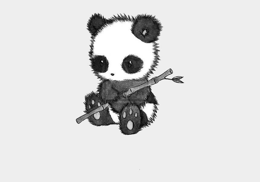 easy things to draw clipart, Cartoons - Fuzzy, Cuddly Panda Drawing - Black And White Panda Drawing