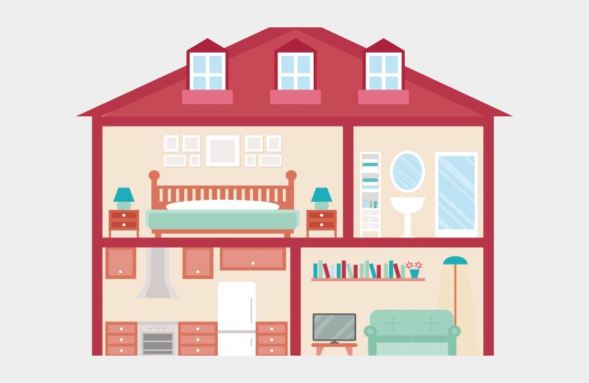 home interior clipart, Cartoons - Interior Clipart Dollhouse - 房子 平面圖 房子 卡通