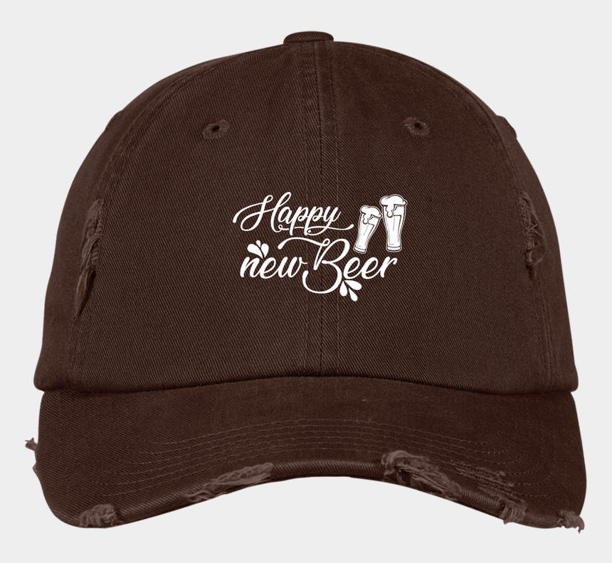 "distressed baseball clipart, Cartoons - ""happy New Beer"" District Distressed Dad Cap - Baseball Cap"