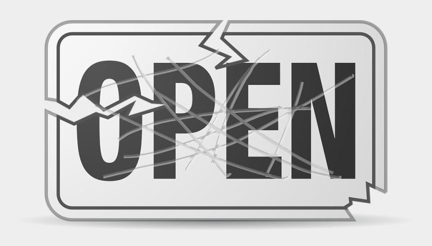 opening night clipart, Cartoons - Broken, Damaged, Open, Sign, Black - Open Sign Clip Art