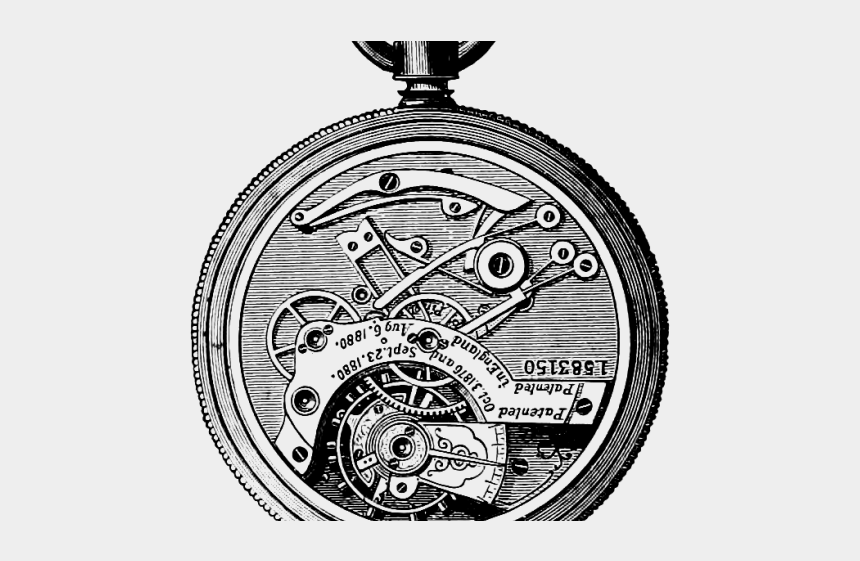 clipart pocket watch, Cartoons - Drawn Pocket Watch Transparent - Watch Gear Clipart Black And White