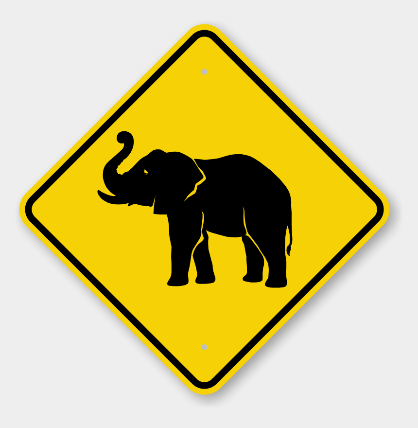 clipart warning signs, Cartoons - Elephant Crossing Sign - Clip Art Of Slope