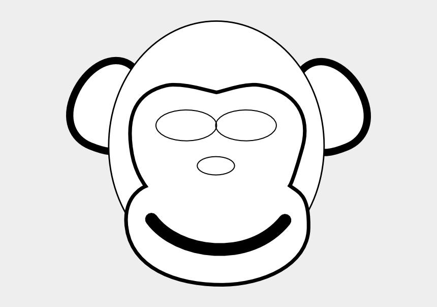 monkey face clipart black and white, Cartoons - Draw Monkey Face Easy