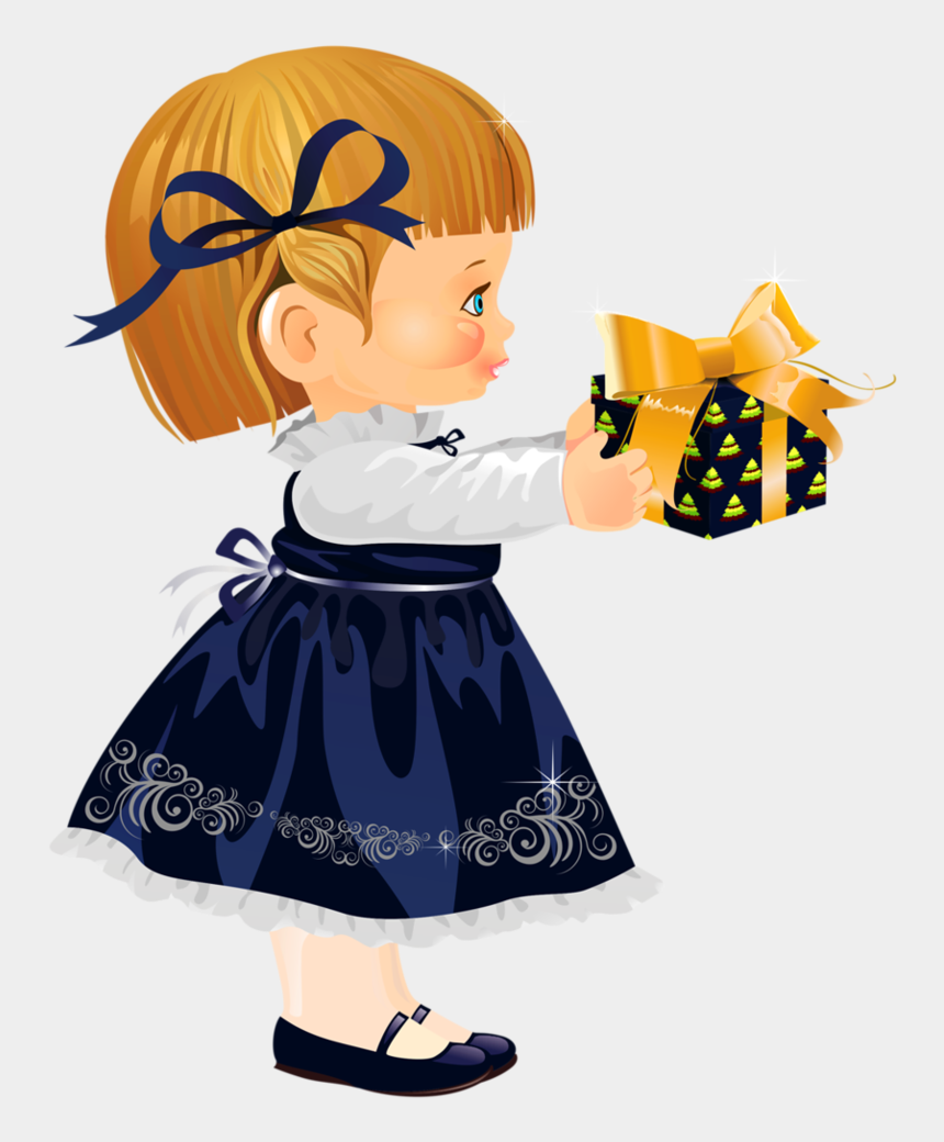 sad little girl clipart, Cartoons - Christmas Little Girl With Gift Disney Clipart, Cute - Portable Network Graphics