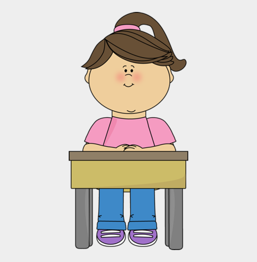 sad little girl clipart, Cartoons - Student Sitting At Desk Gir - Student Sitting At Desk Clipart
