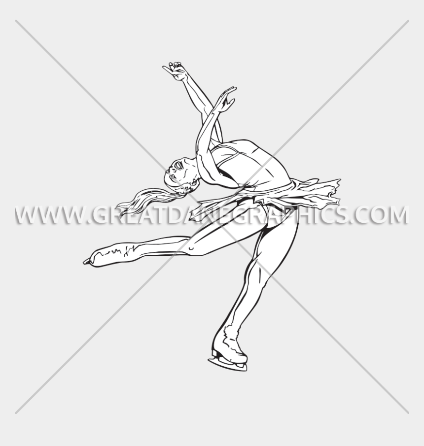ice skater clipart, Cartoons - Spin Drawing Figure Skating - Line Art