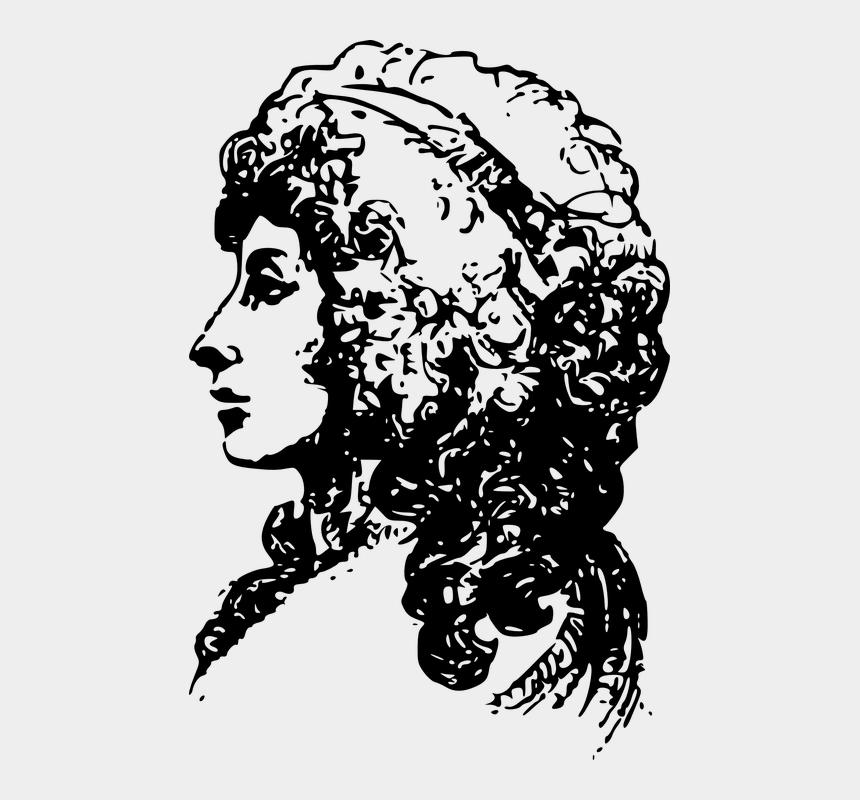 face profile clipart, Cartoons - Woman Face Head Portrait Side Profile Lady - Clip Art