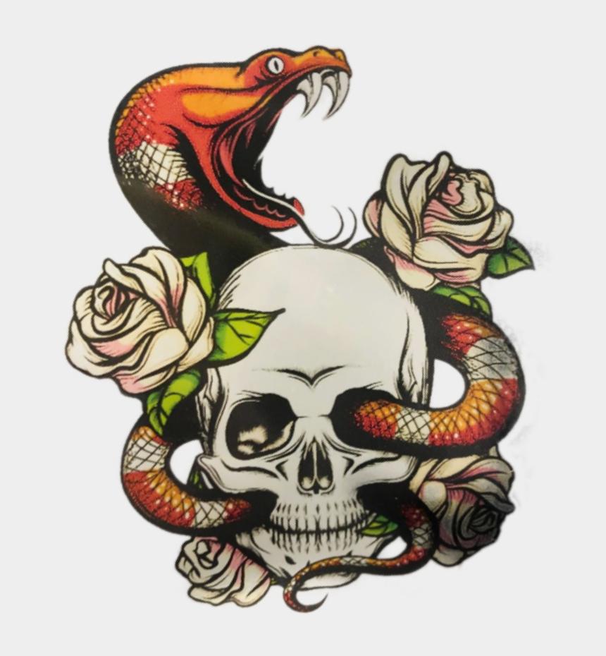 slither clipart, Cartoons - #stickergang #snake #skull #slither #rose #flower #venom - Skull Rose And Snake Tattoo