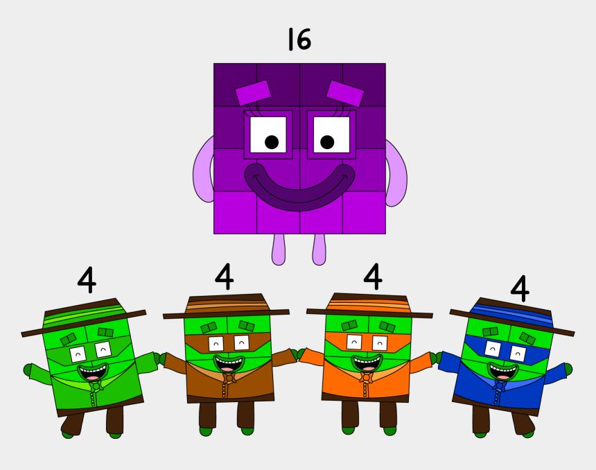 barbershop quartet clipart, Cartoons - It's Three Pictures Of Numberblock 16 Deviding Into - Number Block 16