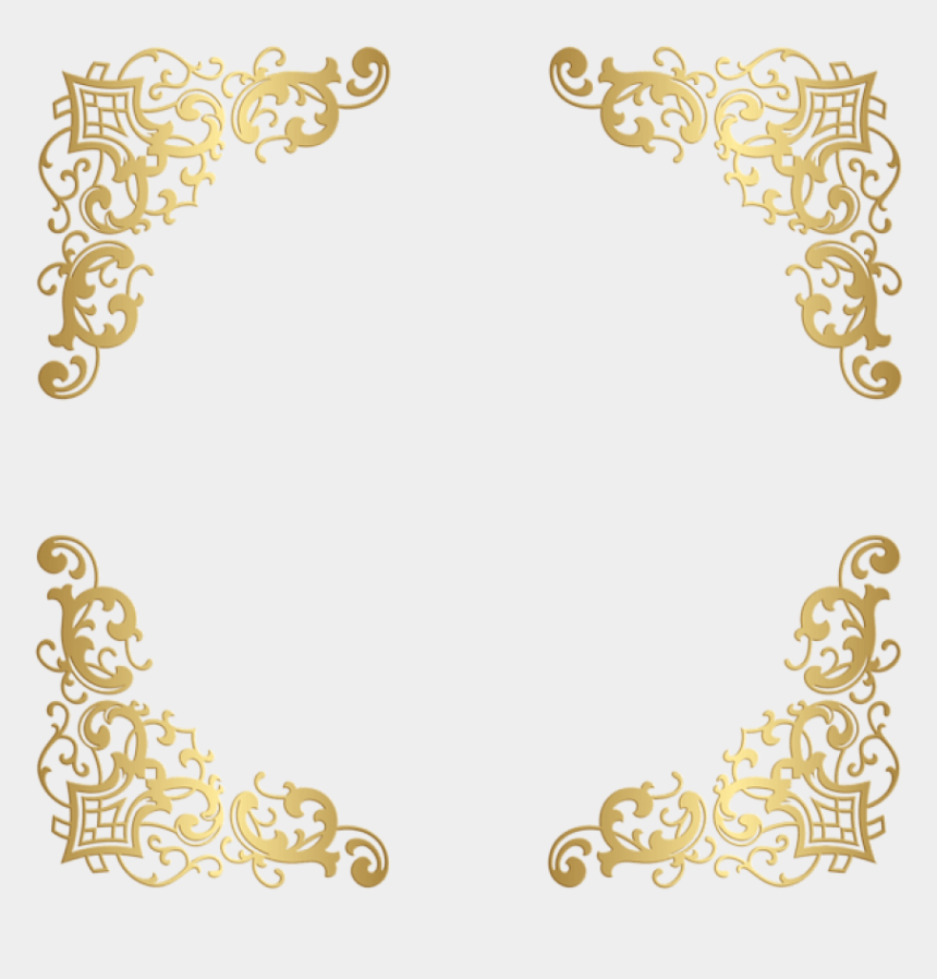 elegant page border clipart, Cartoons - Free Png Download Gold Decorative Corners Transparent - Border No Background Gold