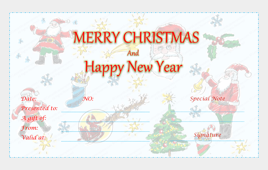 christmas gift certificate clipart, Cartoons - Duel Festive Christmas Gift Certificate Template - Merry Christmas And Happy New Year Gift Card Template