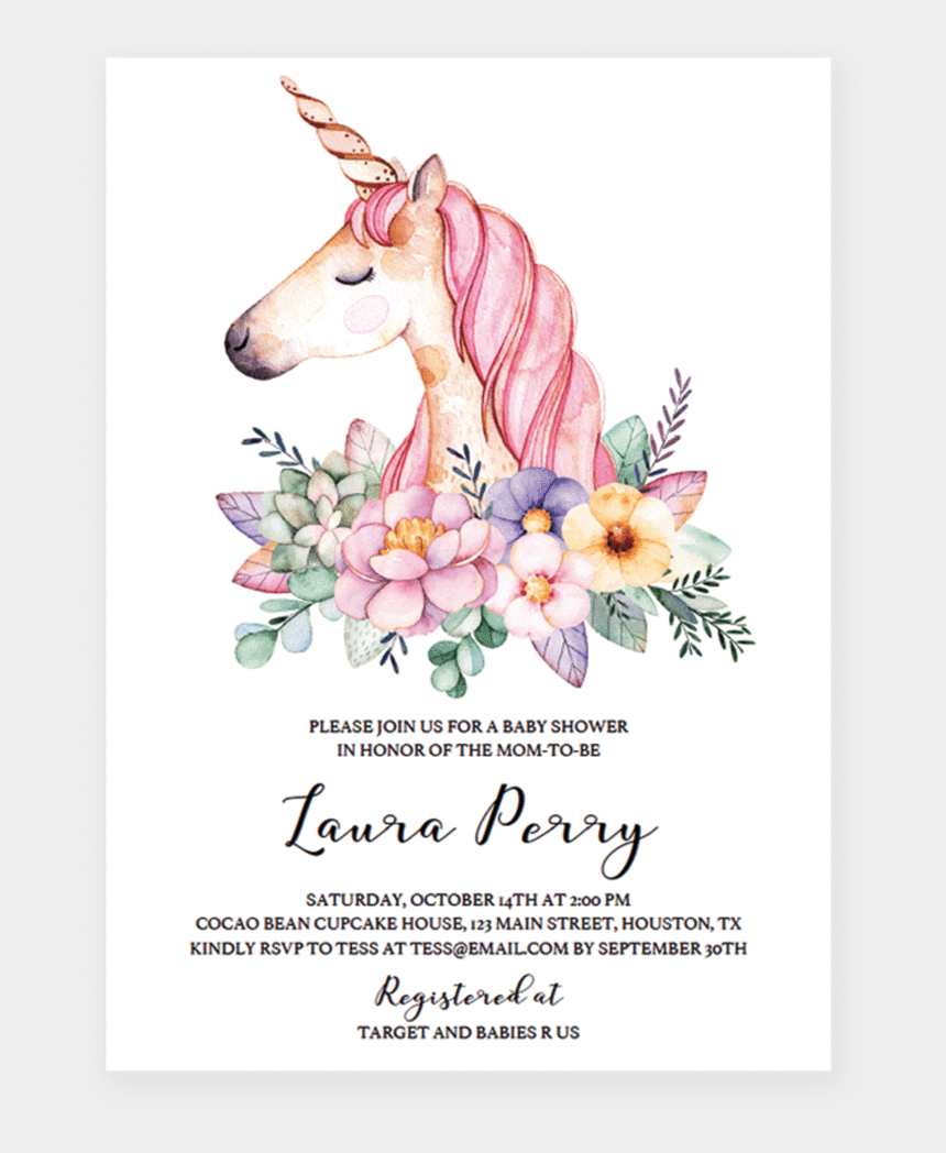 birthday invitation clipart, Cartoons - Floral Baby Girl Shower Templates And Printable Ⓒ - Unicorn Baby Shower Invitation Template