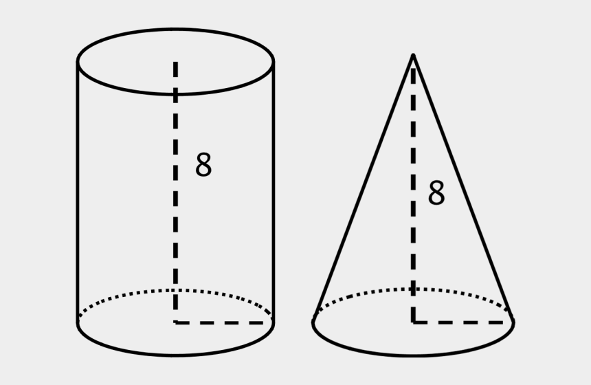 cylinder shape clipart, Cartoons - Cone Clipart Cylinder Shape - Cone And Cylinder With Same Base And Height