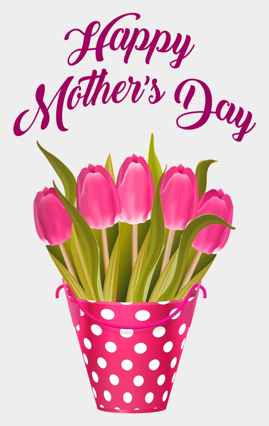 feliz dia de las madres clipart, Cartoons - Día De La Madre Feliz, Tulipanes En Balde, Flores - Flower Happy Mothers Day 2019