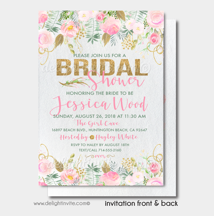 wedding shower invitation clipart, Cartoons - Printed Beautiful Floral Gold And Blush Pink Bridal - Mint Bridal Shower Invitations