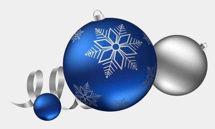 christmas ornament clipart black and white, Cartoons - Silver And Blue Christmas Balls Decoration Clipart - Christmas Ball Blue Png