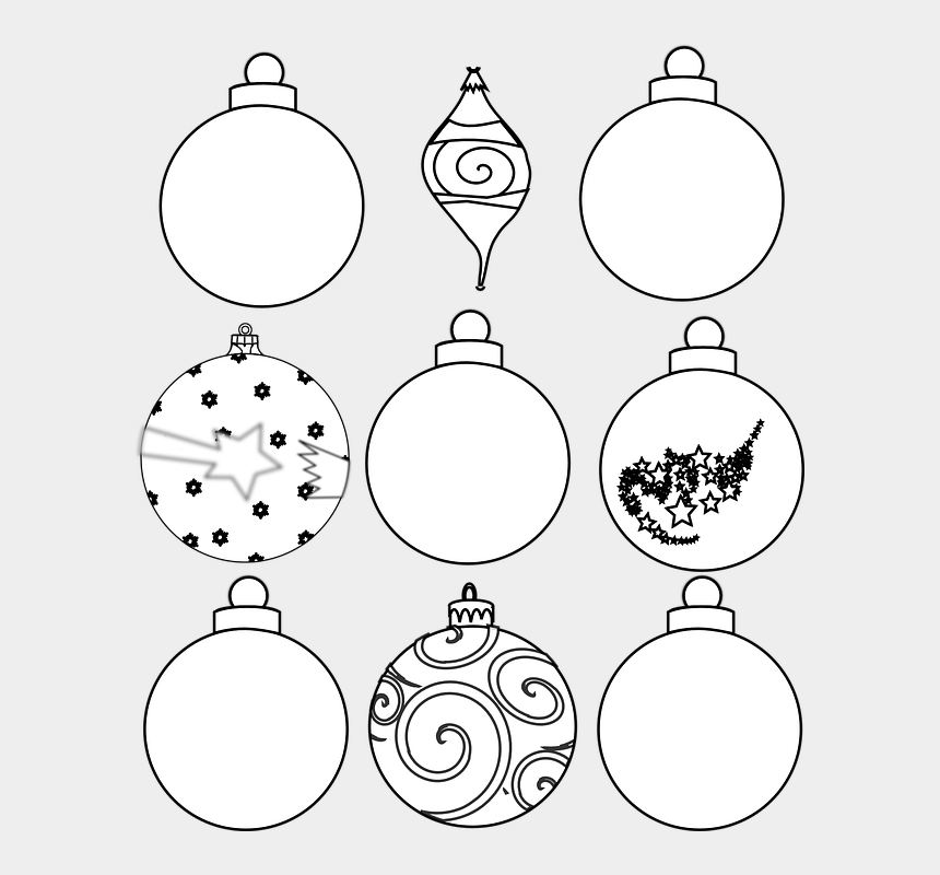 christmas ornament clipart black and white, Cartoons - Christmas Ornaments Clipart Illustrator - Christmas Ornaments Print Outs