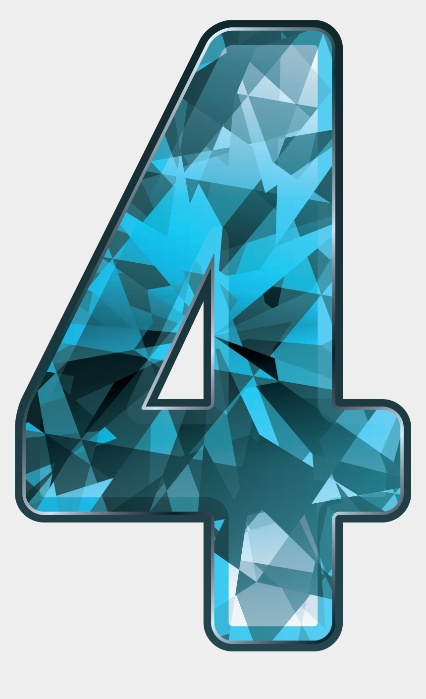 crystal clipart, Cartoons - Blue Crystal Number Four Png Clipart Image - Blue Crystal Numbers Png