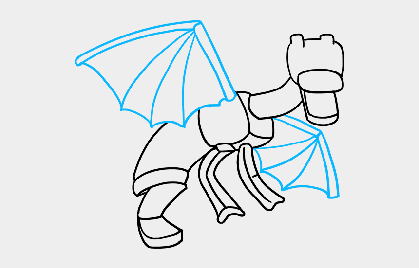 minecraft clip art, Cartoons - How To Draw Ender Dragon From Minecraft - Minecraft Dragon Drawing Easy