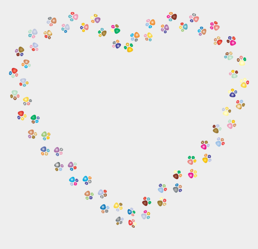 free clipart paw print borders, Cartoons - Paw Clip Art Heart - Rainbow Paw Print Heart