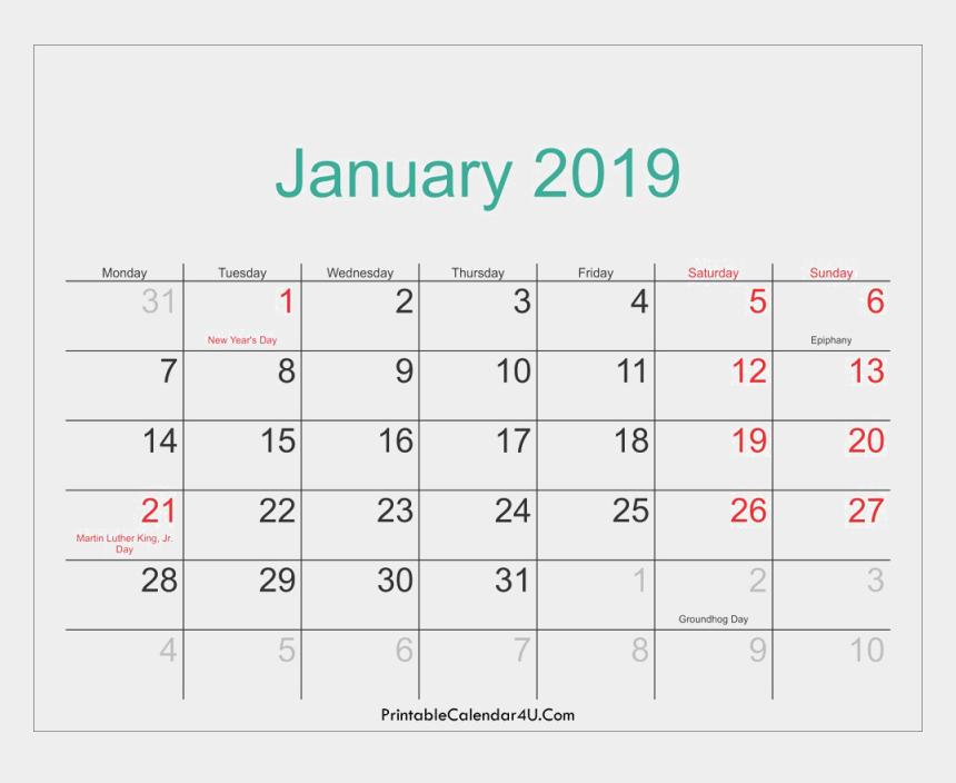 weekly calendar clipart, Cartoons - 2019 Calendar Png File Download Free - 2019 Calendar Printable With Holidays Usa