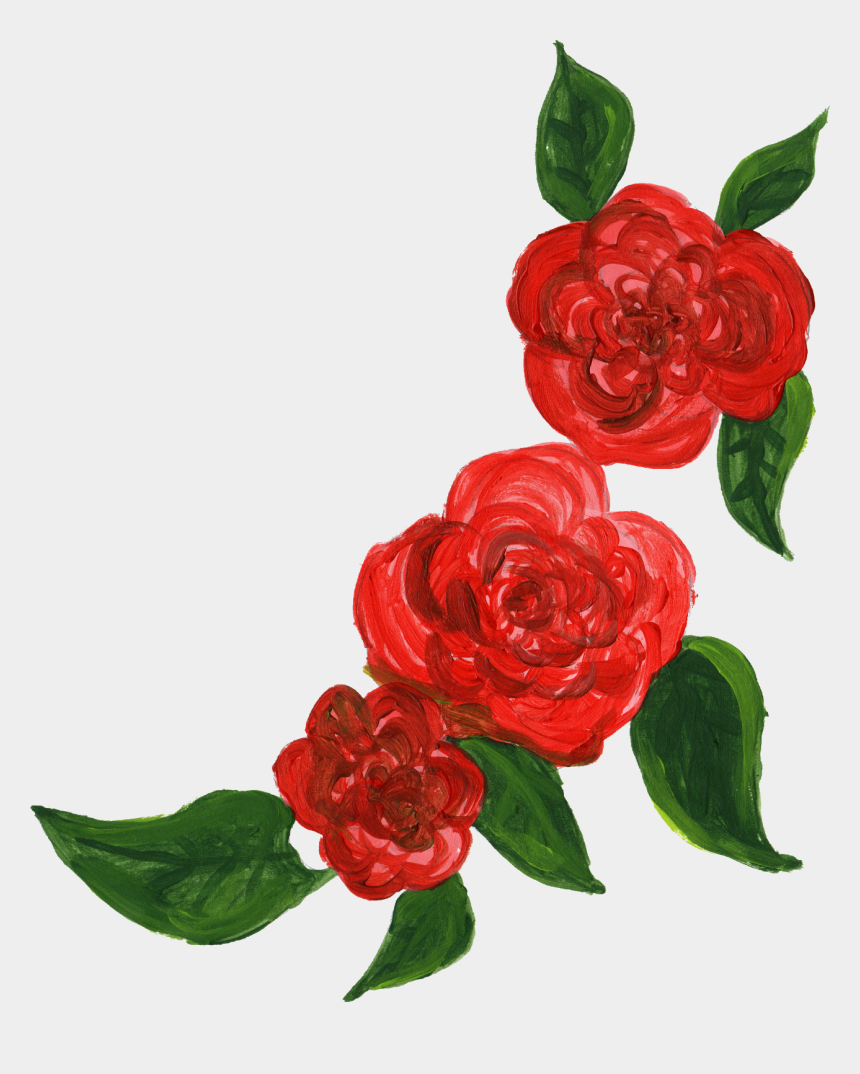 flower corner border clipart free, Cartoons - Bunch Of Flowers Png - Watercolor Red Roses Png