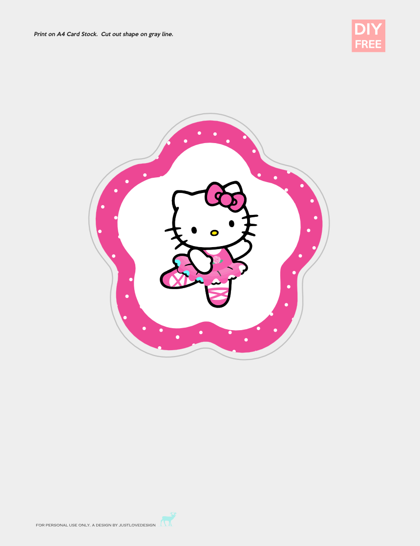 hello kitty clipart free, Cartoons - Diy Free Hello Kitty Cake Topper - Hellokitty Topper Cup Cake