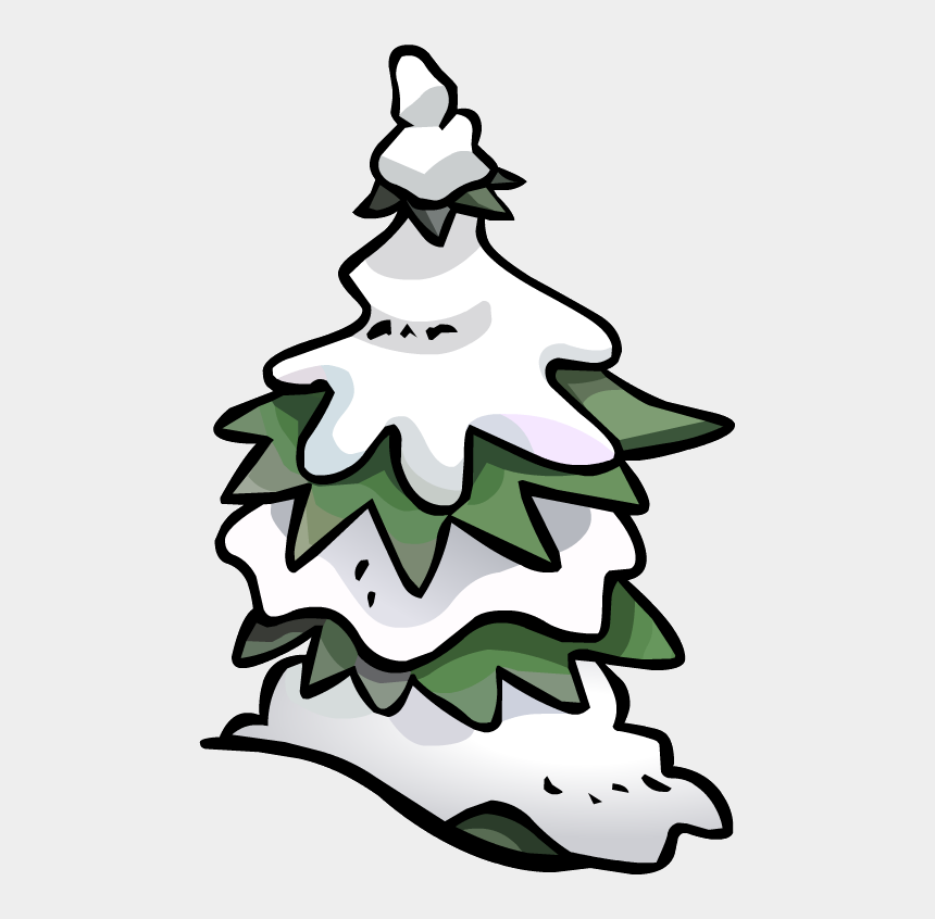 snowy trees clipart, Cartoons - Pine Tree Snow Fort - Club Penguin Tree Png