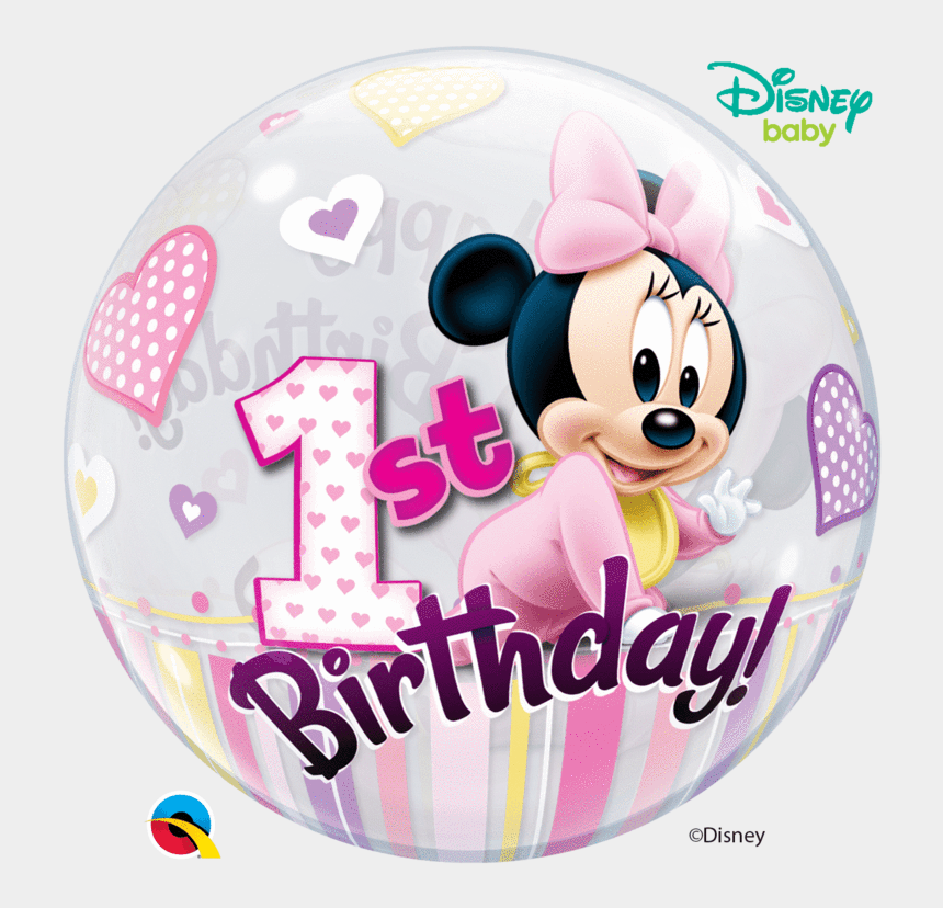 "baby minnie mouse 1st birthday clipart, Cartoons - 22"" Disney Minnie Mouse 1st Birthday Bubble Balloon - Happy Birthday Minnie 1"