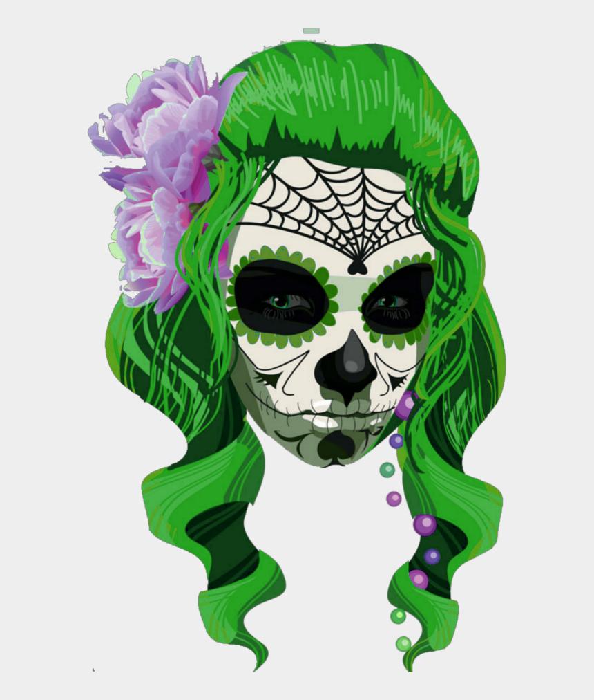 girl skull clipart, Cartoons - #mq #girl #green #skull #skulls #caravela - Catrina Dibujo Halloween
