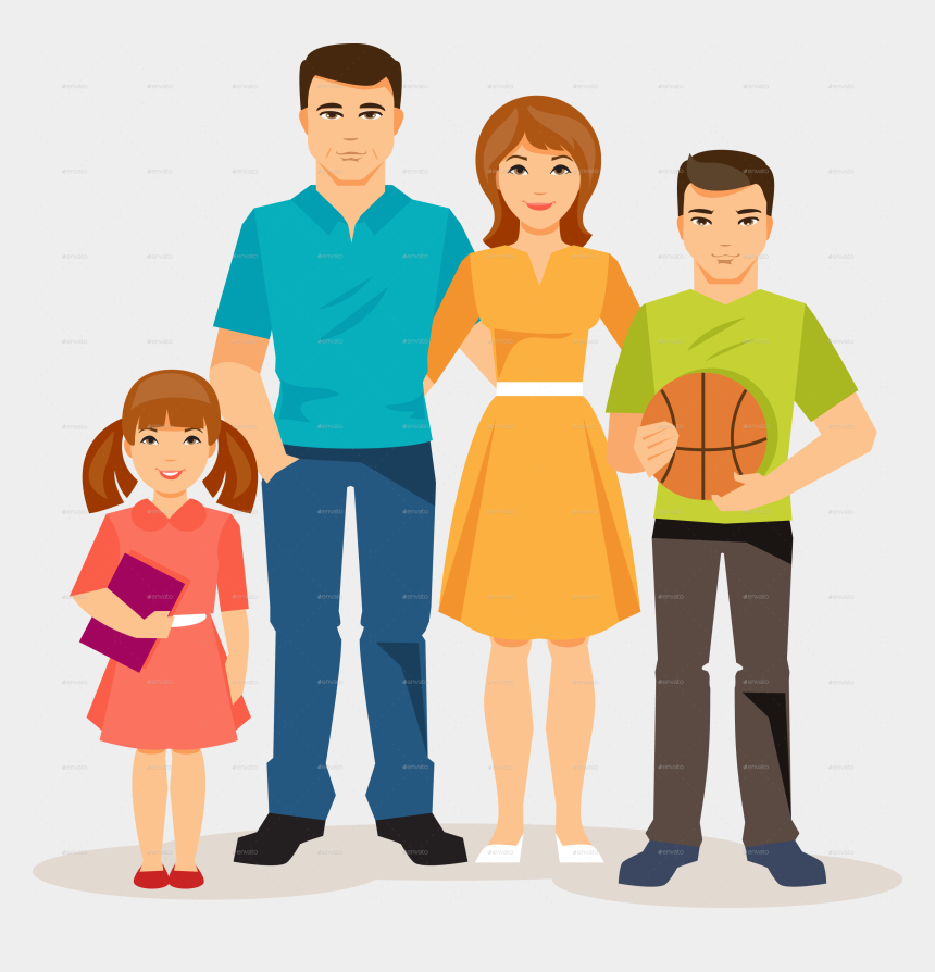 animated family clipart, Cartoons - Cartoon Family Pic - Transparent Background Family Png