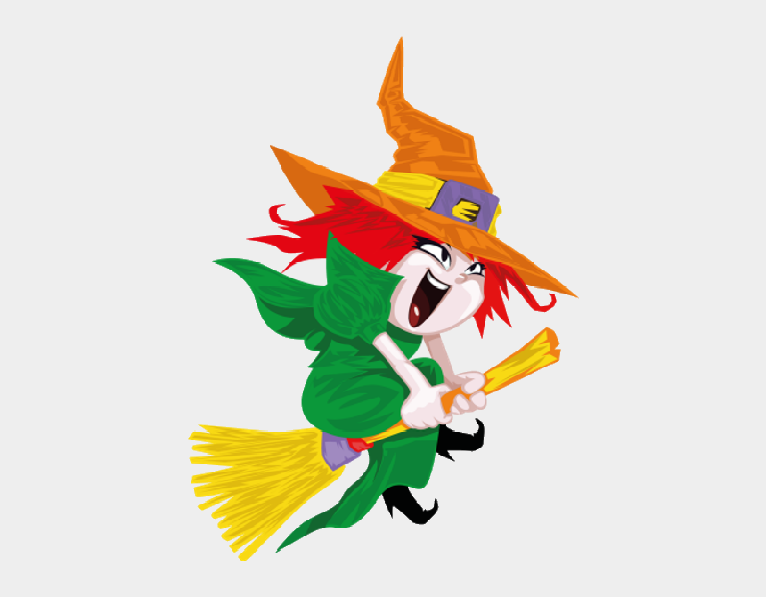 witch clipart for kids, Cartoons - Funny Witches - Witch On A Broom Png
